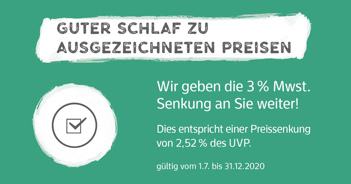 Wir geben die Mehrwertsteuersenkung an Sie weiter - Ochmann Schlafkultur Kassel